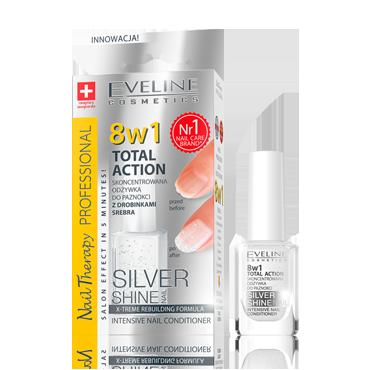 Skoncentrowana odżywka do paznokci z drobinkami srebra Silver Shine 8w1